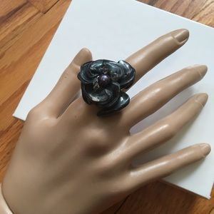iridescent black and pearl ring